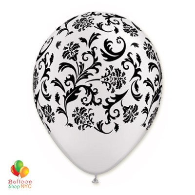 White Black Damask Print Latex Party Balloon 12 inch Inflated delivery Balloon Shop NYC