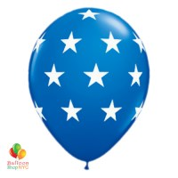 Dark Blue Large White Stars Latex Party Balloon 11 inch Inflated delivery from Balloon Shop NYC