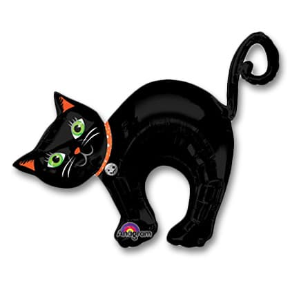 Halloween Jumbo Black Cat Mylar 34 inch Balloons Inflated from Balloons Shop NYC