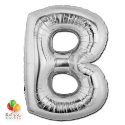 Jumbo-FoiJumbo Foil Silver 40 inch Letter B Balloon