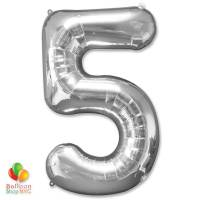 Jumbo Foil Silver 40 inch Number Five Balloon