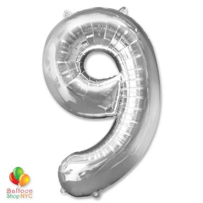 Jumbo Foil Silver 40 inch Number Nine Balloon