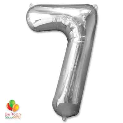 Jumbo Foil Silver 40 inch Number Seven Balloon