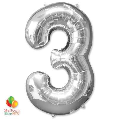 Jumbo Foil Silver 40 inch Number Three Balloon