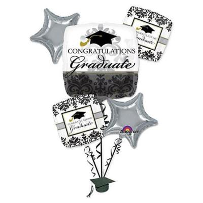 Black and White Graduation Balloons Bouquet Delivery from Balloon Shop NYC