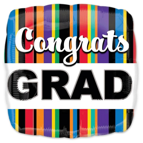 Congrats Grad Striped Square Balloon from Balloons Shop NYC 19710-02