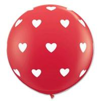 Round Jumbo latex Balloons with Hearts from Balloon Shop NYC