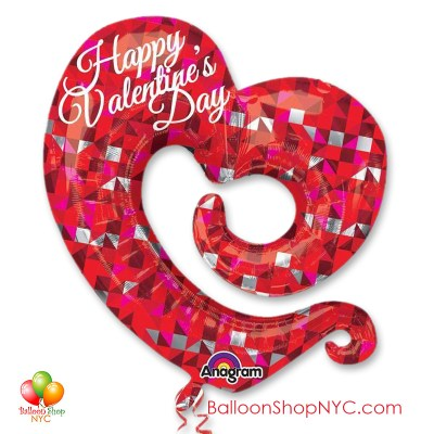 Happy Valentines Swirly Open Heart Balloon Mylar 31 Inch Inflated delivery in New York from Balloon Shop NYC