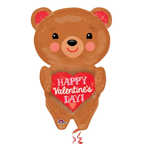 Valentines Day Mylar Balloon Bear With Heart 28 inch from Balloon Shop NYC