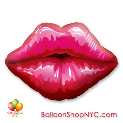 Big Red Kissey Lips Valentines Balloon Mylar 30 Inch Inflated Delivery in New York from Balloon Shop NYC