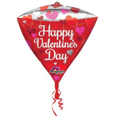 Valentines Day Mylar Balloon Diamondz Floating Hearts delivery from Balloon Shop NYC