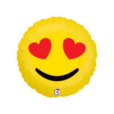 Valentines Day Mylar Balloon Emoji Hearts 18 inch delivery from Balloon Shop NYC