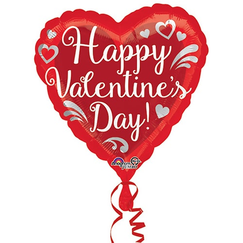 Valentines Day Mylar Balloon Fancy Swirls Heart 28 Inch delivery from Balloon Shop NYC