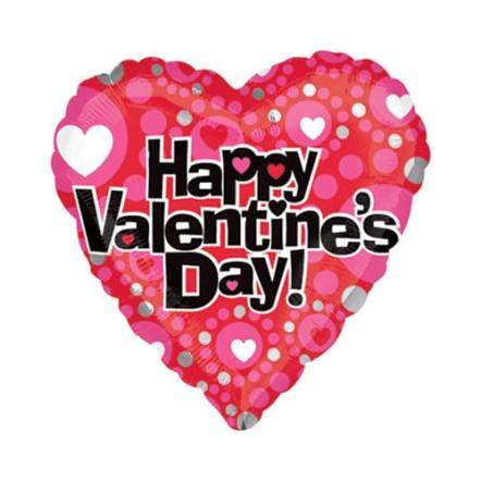 Valentines Day Mylar Balloon Heart Dot Pattern 18 inch delivery from Balloon Shop NYC