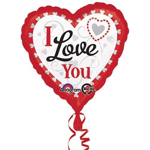 Valentines Day Mylar Balloon I Love You Silver Hearts 28 Inch delivery from Balloon Shop NYC