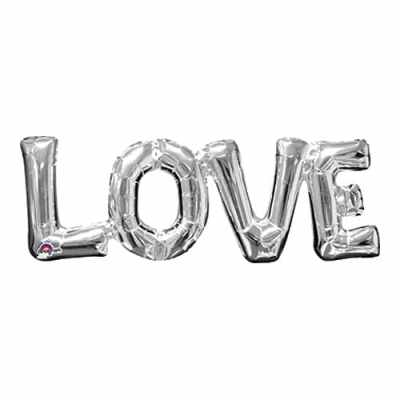 Valentines Day Mylar Balloon Love Letters Silver 25 Inch delivery from Balloon Shop NYC