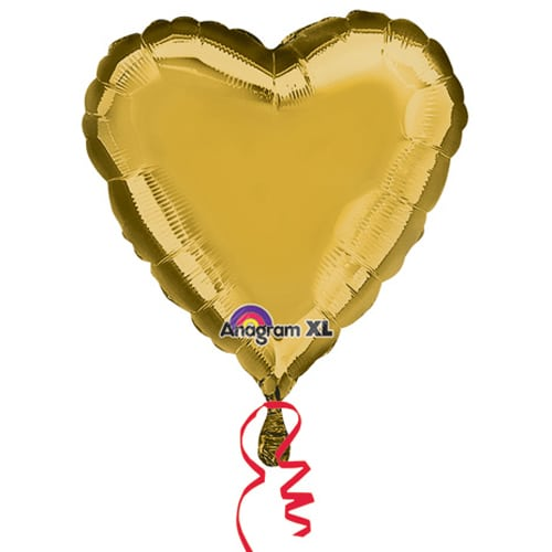 Valentines Day Mylar Balloon Metallic Gold Heart 18 Inch delivery from Balloon Shop NYC