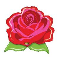 Valentines Day Mylar Balloon Mighty Bright Red Rose 29 inch delivery from Balloon Shop NYC