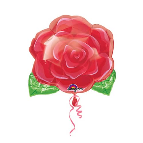 Valentines Day Mylar Balloon Rose Blooming 18 Inch delivery from Balloon Shop NYC