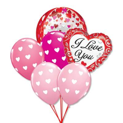 Valentines Day I Love You Hearts Balloon Bouquet delivery from Balloon Shop NYC