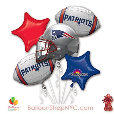 NEW ENGLAND PATRIOTS FOOTBALL BALLOON BOUQUET WITH WEIGHT