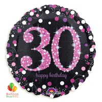 Pink Celebration 30th Holographic 18 Inch Mylar Balloon Inflated high-quality cheap balloons nyc delivery