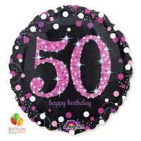 Pink Celebration 50th Birthday Holographic 18 Inch Mylar Balloon Inflated