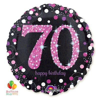 Pink Celebration 70th Holographic 18 Inch Mylar Balloon Inflated high-quality cheap balloons nyc delivery