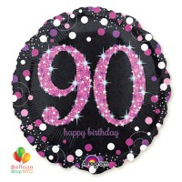 Pink Celebration 90th Holographic 18 Inch Mylar Balloon Inflated high-quality cheap balloons nyc delivery