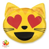 Emoticon Cat Love Valentines Day Balloon 22 Inch Inflated With Helium Balloon Delivery in New York