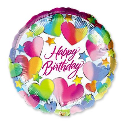 Happy Birthday Hearts 18 inch Mylar Balloon Delivery from Balloon Shop NYC