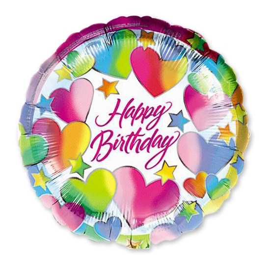 Happy Birthday Hearts Mylar Balloon Delivery From Shop NYC