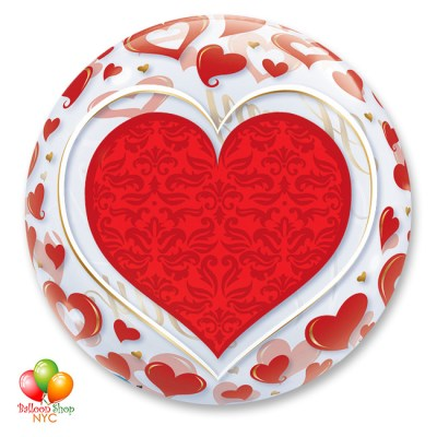 Happy Valentines Day Red Hearts Bubble Balloon 22 Inch Inflated Back Delivery from Balloon Shop NYC