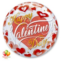 Happy Valentines Day Red Hearts Bubble Balloon 22 Inch Inflated Delivery from Balloon Shop NYC