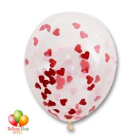 Heart Shaped Confetti Balloon Latex 16 Inch Inflated Delivery in New York from Balloon Shop NYC
