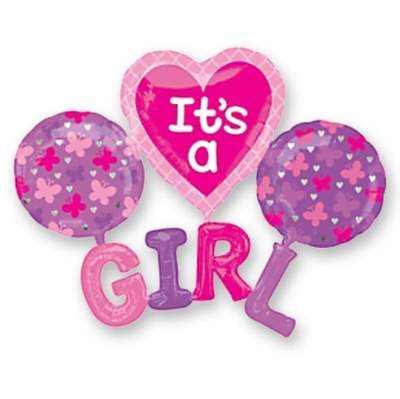 Its a Girl Baby Balloon Bouquet delivered from Balloon Shop NYC