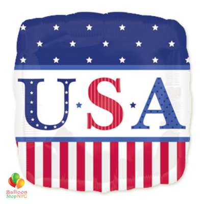 USA Star Stripes Patriotic Mylar Balloon 18 inch Inflated delivery from Balloon Shop NYC