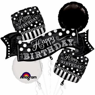 Black and white Chalkboard Birthday Foil Mylar Balloon Bouquet delivery from Balloon Shop NYC