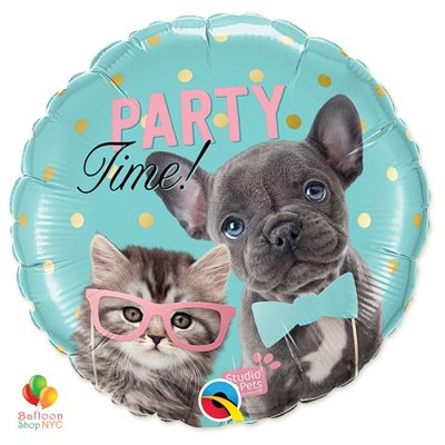 Happy Birthday Party Time Pets Mylar Balloon Inflated delivery from Balloon Shop NYC