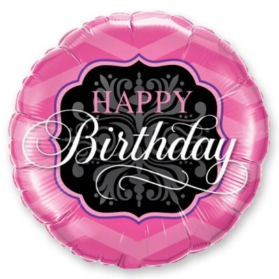 Happy Birthday Pink & Black Mylar Balloon Delivery from Balloon Shop NYC