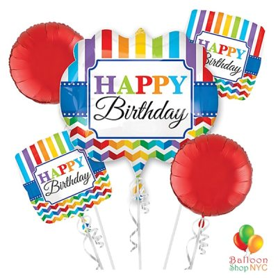 Happy Birthday Rainbow Stripes Mylar Balloons Bouquet delivery from Balloon Shop NYC