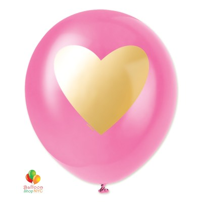 Bubblegum with Gold Heart Latex Balloon 11 Inch Inflated delivery Balloon Shop NYC