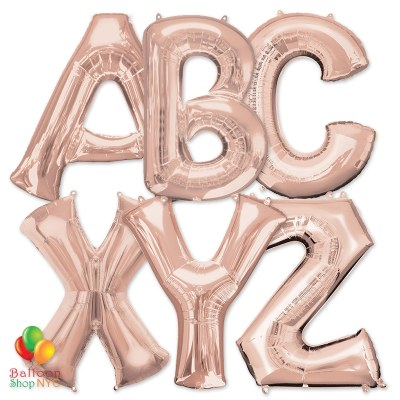 Express Order Jumbo Letters Foil Balloon Rose Gold 35 inch Inflated delivery from Balloon Shop NYC