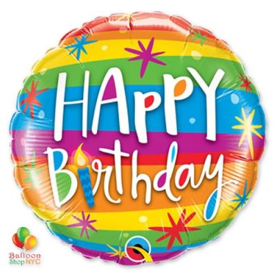 Happy Birthday Rainbow Stripes Mylar Balloon 49043 delivery from Balloon Shop NYC