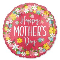 Happy Mothers Day Round Flowers 28 in Mylar Balloon delivery from Balloons Shop NYC