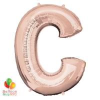 Jumbo Letter C Foil Balloon Rose Gold 35 inch Inflated delivery from Balloon Shop NYC
