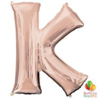 Jumbo Letter K Foil Balloon Rose Gold 35 inch Inflated delivery from Balloon Shop NYC