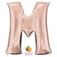 Jumbo Letter M Foil Balloon Rose Gold 35 inch Inflated delivery from Balloon Shop NYC
