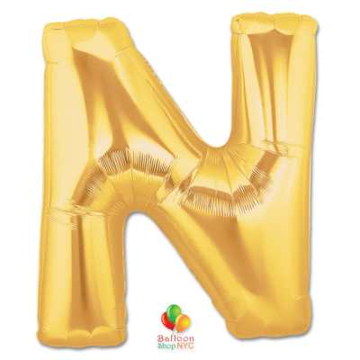 Jumbo Letter N Foil Balloon Gold 40 inch Inflated delivery from Balloon Shop NYC