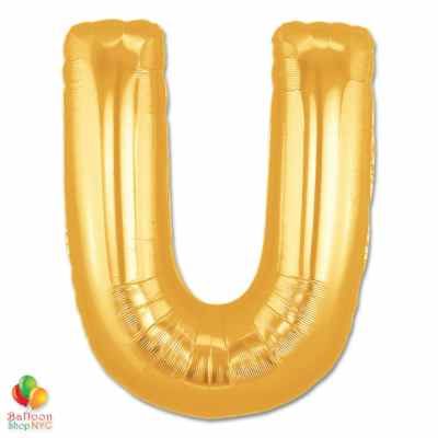 Jumbo Letter U Foil Balloon Gold 40 inch Inflated delivery from Balloon Shop NYC